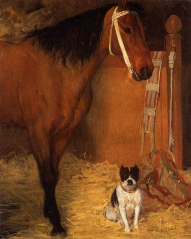Эдгар Дега. Лошадь и собака в стойле