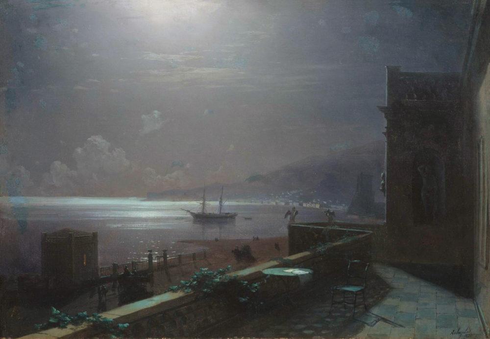 Feodosiya-v-lunnuyu-noch.-Vid-s-balkona-doma-Ajvazovskogo-na-more-i-gorod.-1880